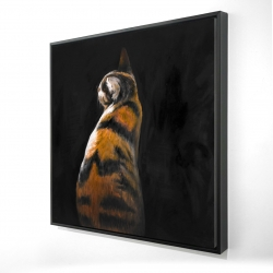 Framed 24 x 24 - 3D - Spotted cat