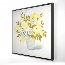 Framed 24 x 24 - 3D - Blue and yellow flowers in a vase
