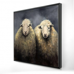 Framed 24 x 24 - 3D - Wool sheeps