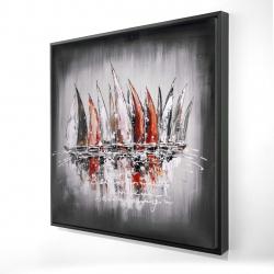 Framed 24 x 24 - 3D - Sailboats with paint splash