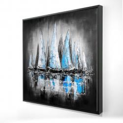 Framed 24 x 24 - 3D - Blue boats with an handwritten message