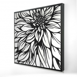 Framed 48 x 48 - 3D - Dahlia flower outline style
