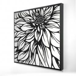 Framed 24 x 24 - 3D - Dahlia flower outline style