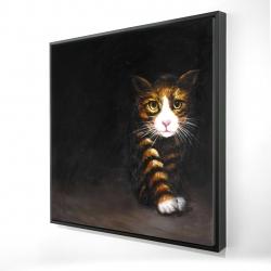 Framed 24 x 24 - 3D - Discreet cat