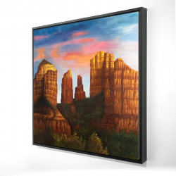 Framed 24 x 24 - 3D - Cathedral rock in arizona