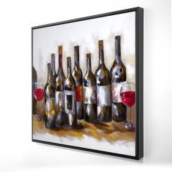 Framed 24 x 24 - 3D - Red wine bottles