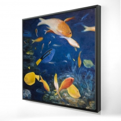 Framed 24 x 24 - 3D - Colorful fish under the sea
