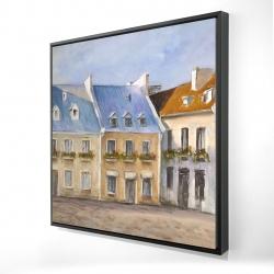 Framed 24 x 24 - 3D - Old quebec city