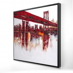 Framed 24 x 24 - 3D - Red bridge