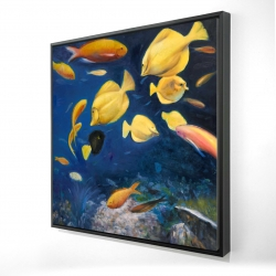 Framed 36 x 36 - 3D - Fish under the sea