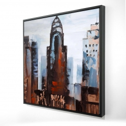 Framed 24 x 24 - 3D - Sullen day in the city