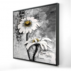 Framed 24 x 24 - 3D - Abstract daisies flowers
