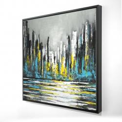 Framed 24 x 24 - 3D - Abstract blue skyline