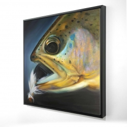 Framed 24 x 24 - 3D - Golden trout with fly fishing flie