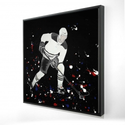 Framed 24 x 24 - 3D - Hockey player ready for action