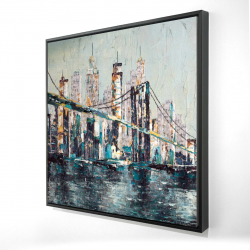 Framed 24 x 24 - 3D - Abstract and texturized bridge