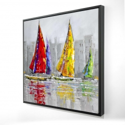 Framed 24 x 24 - 3D - Sailboats in the wind