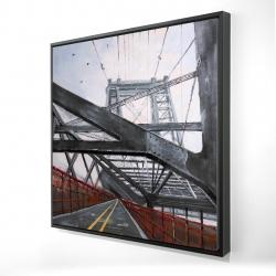 Framed 24 x 24 - 3D - Brooklyn bridge architecture