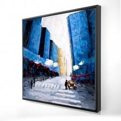 Framed 24 x 24 - 3D - Blue buildings