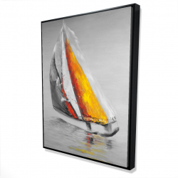 Framed 36 x 48 - 3D - Two colors sailing boat
