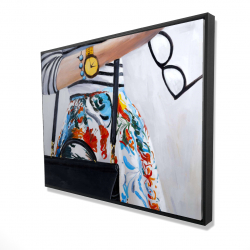 Framed 36 x 48 - 3D - Fashionable woman with glasses