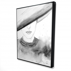 Framed 36 x 48 - 3D - Mysterious lady with a hat