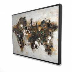Framed 36 x 48 - 3D - Abstract world map with typography