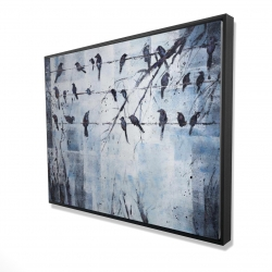 Framed 36 x 48 - 3D - Abstract birds on electric wire