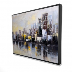 Framed 36 x 48 - 3D - Abstract city in the morning