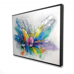 Framed 36 x 48 - 3D - Abstract flower with newspaper