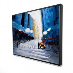 Framed 36 x 48 - 3D - Blue buildings