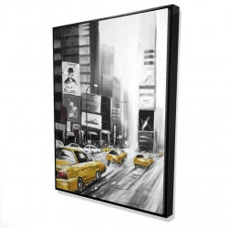 Framed 36 x 48 - 3D - Times square and yellow taxis