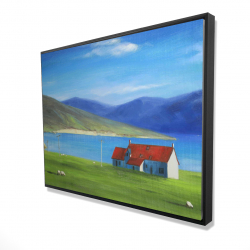 Framed 36 x 48 - 3D - Scottish highlands with a little red roof house