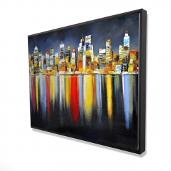Framed 36 x 48 - 3D - Colorful reflection of a cityscape by night