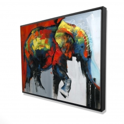 Framed 36 x 48 - 3D - Abstract and colorful elephant in motion