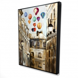 Framed 36 x 48 - 3D - Gloomy street with colorful hot-air balloons