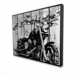 Framed 36 x 48 - 3D - Motorcycle grey and black