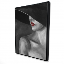 Framed 36 x 48 - 3D - Mysterious woman with a hat