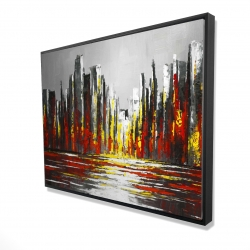 Framed 36 x 48 - 3D - Abstract red skyline