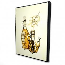 Framed 36 x 48 - 3D - Two bottles of olive oil