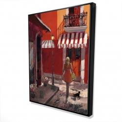 Framed 36 x 48 - 3D - Lady walking down the street