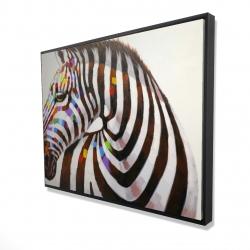 Framed 36 x 48 - 3D - Colorful zebra