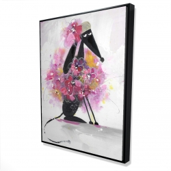 Framed 36 x 48 - 3D - Cartoon dog with pink flowers