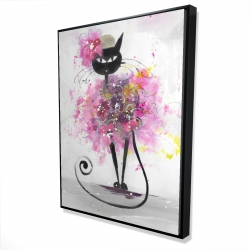 Framed 36 x 48 - 3D - Cartoon cat with pink flowers