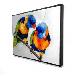 Framed 36 x 48 - 3D - Couple of parrots