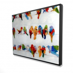 Framed 36 x 48 - 3D - A lot of colorful birds on a wire