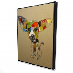 Framed 36 x 48 - 3D - Abstract colorful chihuahua