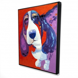 Framed 36 x 48 - 3D - Abstract colorful basset dog