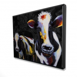 Framed 36 x 48 - 3D - Two funny cows victorian