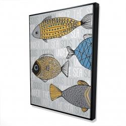 Framed 36 x 48 - 3D - Fishes' illustration